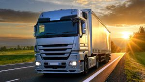 lorry driving in sunset
